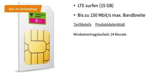 Telekom 15GB LTE 150 Mbit/s Datentarif für 19,99€ + 350€ Gutschein (eff. 7,07€ mtl.)
