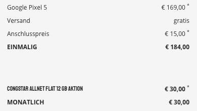 Google Pixel 5 für 169€ mit Telekom Allnet Flat inkl. 12GB LTE für 30€ mtl.