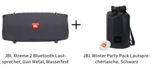 JBL Xtreme 2 spritzwasserfester Bluetooth Lautsprecher + Winter Party Pack Lautsprechertasche für 189€ (statt 263€)