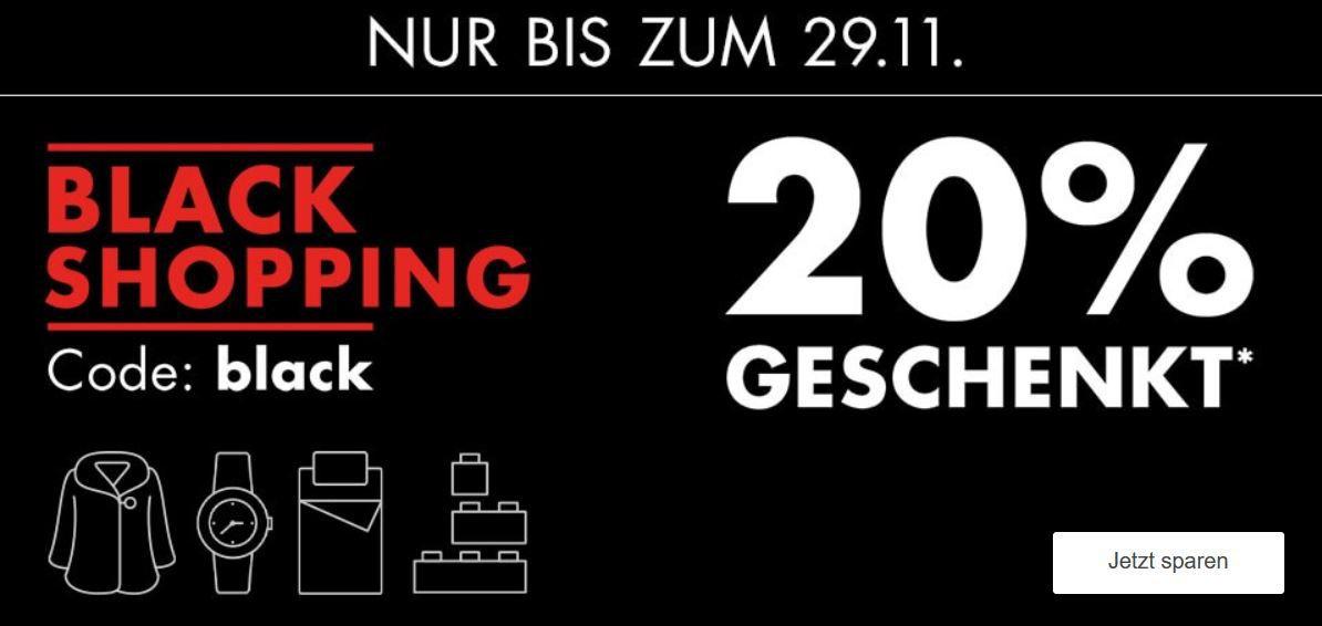 Galeria Black Shopping Week 20% extra Rabatt auf viele Kategorien wie Mode oder Spielwaren