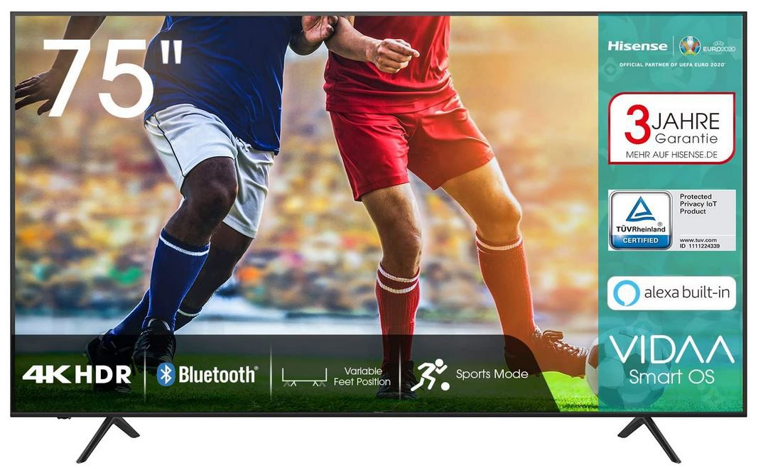 Hisense 75AE7000F    75 Zoll UHD Smart TV mit HDR für 799€ (statt 899€)