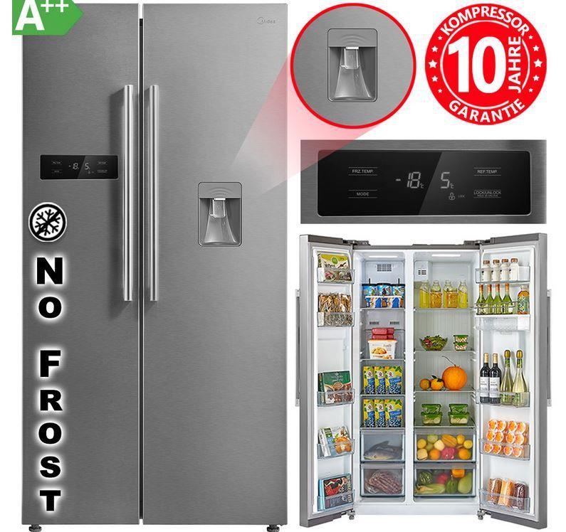 Pricedrop! Midea KS 6.21 edelstahl Side by Side 510l Kühl Gefrierkombination mit Wasserspender für 459,99€ (statt 599€)