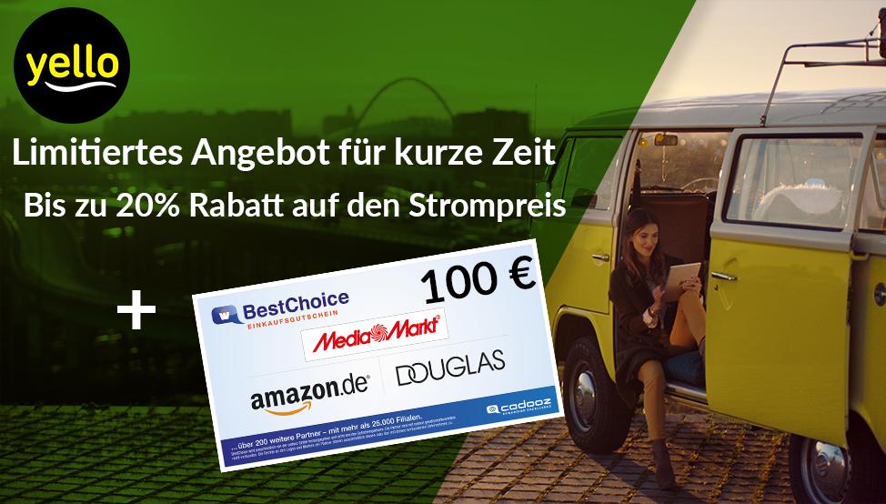 Yello Basic Stromangebote mit bis 20% Rabatt + 100€ Bestchoice Gutschein