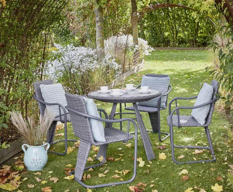 Gartenmöbelset Christina in Grau 4 Stühle + Glastisch für 349,30€ (statt 499€)