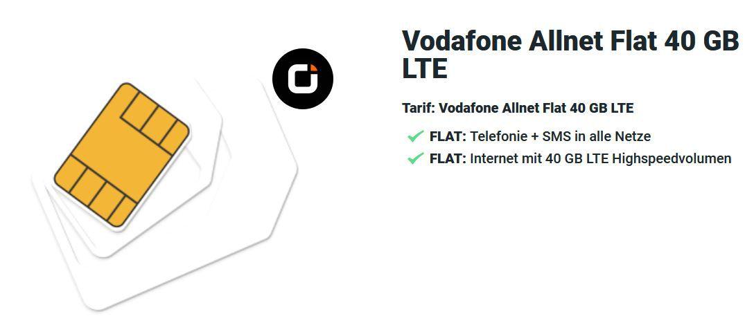 Top! Vodafone AllNet & SMS Flat von otelo mit 40GB LTE (!) für 19,99€ mtl.