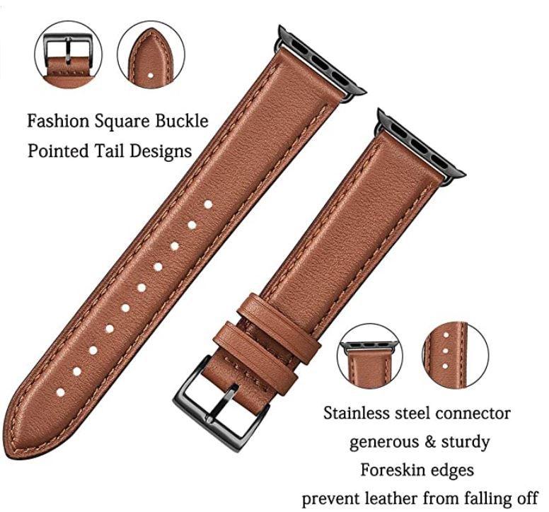 SUNFWR Leder Armband für die Apple Watch 38mm bis 44mm für 6,80€ (statt 17€)