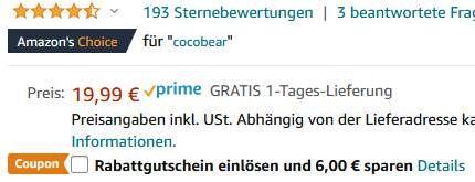 CocoBear Stirn Infrarotthermometer für Babys, Kinder & Erwachsene für 13,99€ (statt 20€)   Prime