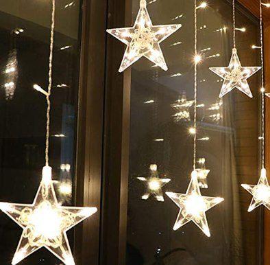 Abgelaufen! 2,5m LED Lichtervorhang mit 12 Sternen (15cm) & 8 Effekte für 12,49€ (statt 25€)   Prime