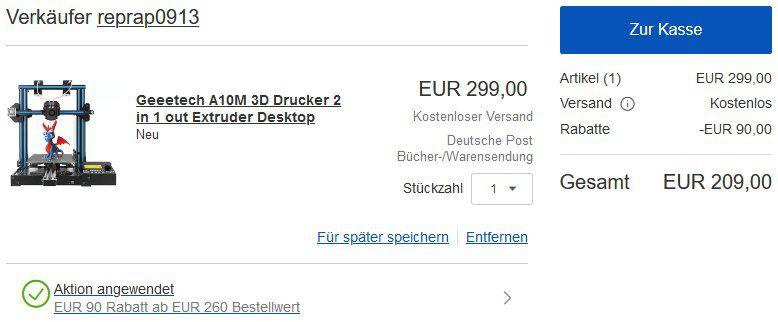 Geeetech A10M 2in1 DualColor 3D Drucker für 209€ (statt 249€)   aus CZ