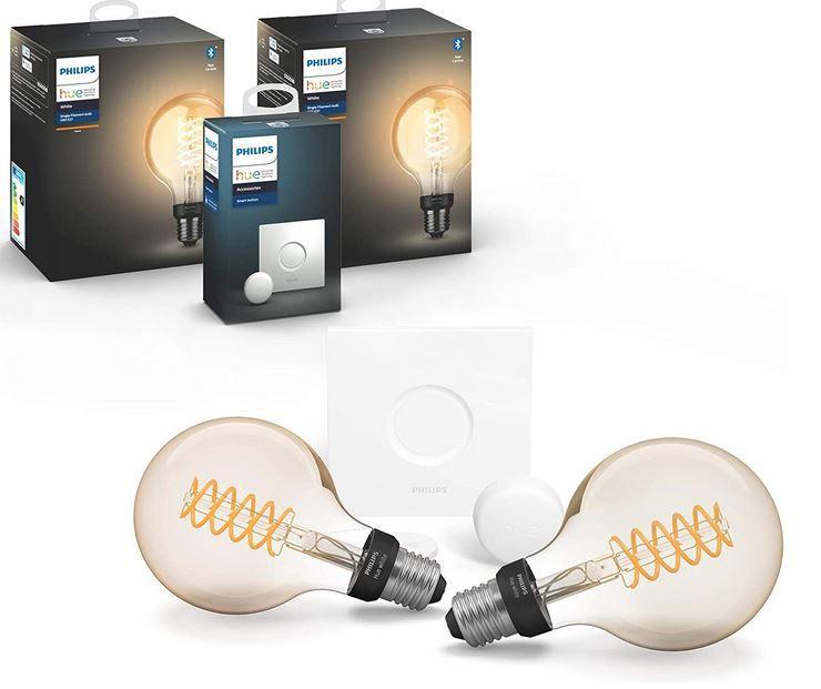 Philips Hue White Filament 2 x E27 LED Globe + Hue Smart Button für 59,99€ (statt 75€)
