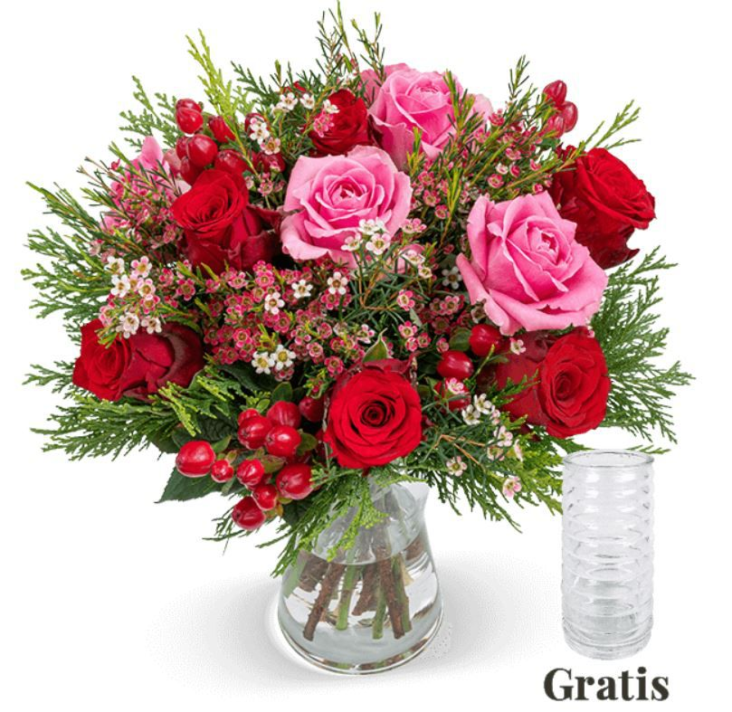 Deko Rosenstrauß Winterzauber + gratis Vase für 24,98€