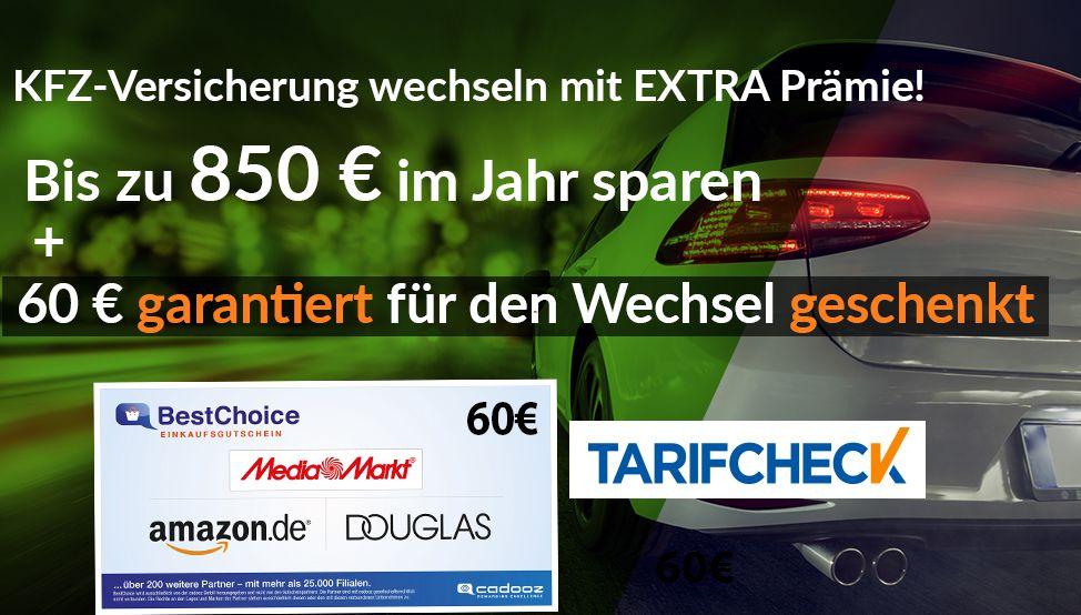 Tarifcheck: Kfz Versicherung wechseln (bis zu 850€/Jahr sparen) + 60€ Gutschein