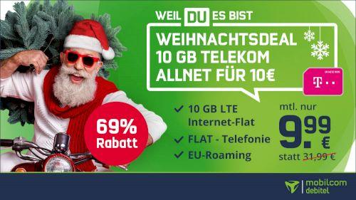 Telekom Allnet Flat mit 10GB LTE (inkl. VoLTE & WLAN Call) für 9,99€ mtl.