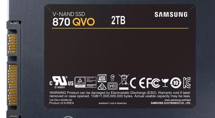 Samsung 870 QVO Interne SATA SSD 2TB für 149€ (statt 164€)