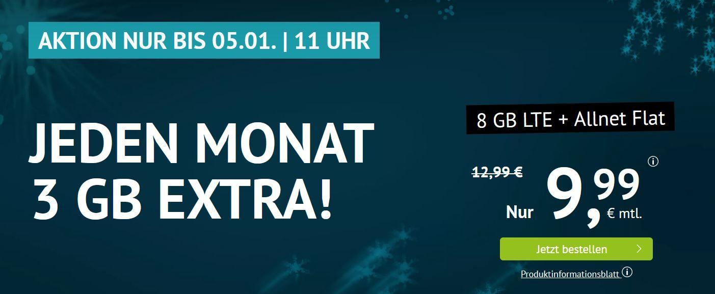 o2 AllNet & SMS Flat + 8GB LTE für 9,99€ mtl.   auch ohne Laufzeit