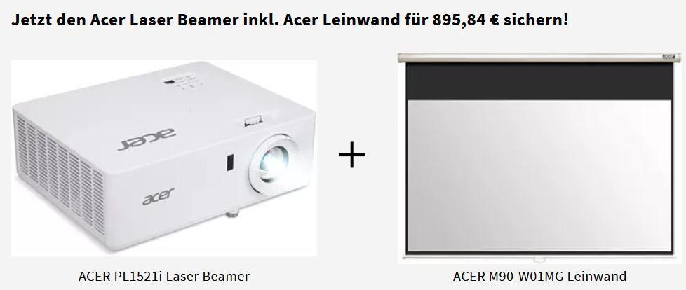 Acer Laser Beamer inkl. Acer Leinwand für 885,84€ (statt 1.097€)