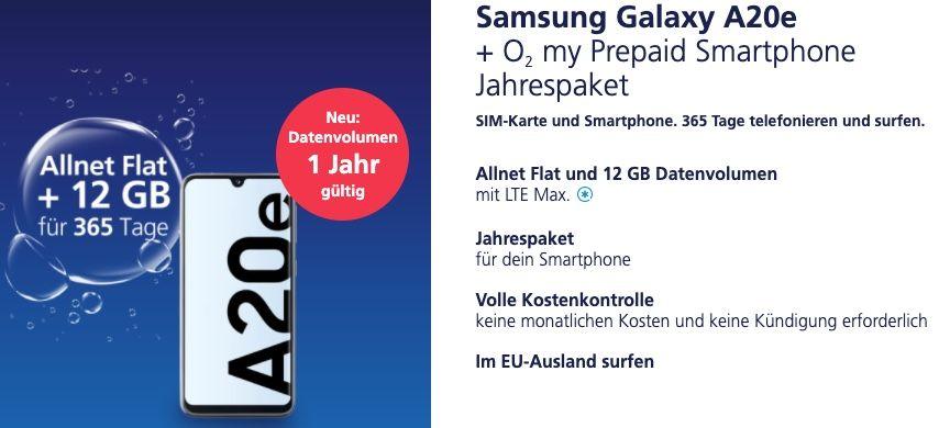 Samsung Galaxy A20e + o2 Prepaid Jahrespaket mit 12GB LTE für zusammen nur 154,85€