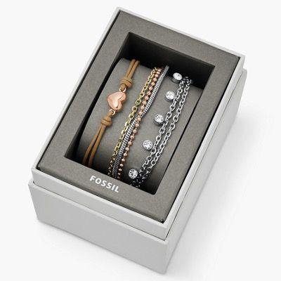Ausverkauft! FOSSIL Geschenkset Damen Armbänder Tri Tone aus Edelstahl für 41,40€ (statt 99€)