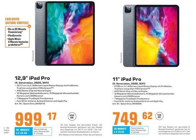 Vorbei! Apple iPad Pro 12.9 (2020) 256GB WiFi für 989€ (statt 1.129€) oder iPad Pro 11 (2020) 128GB WiFi für 739,62€