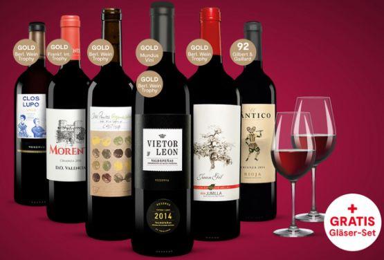 6 Flaschen Vinos Rotwein + 2 Gläser für 24,23€