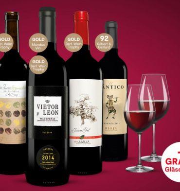 Lacrimus 6 Fl. Rioja Rotwein + 4 Spieglau Gläser für nur 39,99€