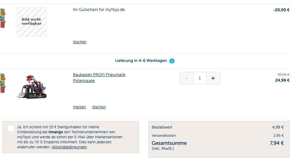 20€ myToys Gutschein ohne MBW für Sky Bestandskunden   z.B. Fischertechnik Pneumatik Pistenraupe für 7,94€ (statt 45€)