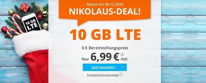 Nikolaus Deal 🔥 o2 Tarif mit 60 Freiminuten + 10GB LTE für 6,99€ mtl. + keine Laufzeit