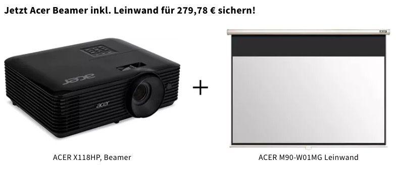 ACER X118HP Beamer (SVGA, 3D, 4000Lumen) + ACER Leinwand ab 269,78€ (statt 355€)