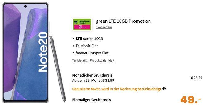 Samsung Galaxy Note20 256GB für 49€ mit Telekom Allnet Flat inkl. 10GB LTE für 29,99€ mtl.