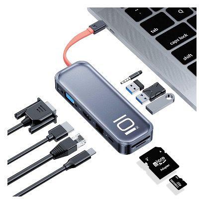 Rock USB-C Hub Adapter mit 4K HDMI, VGA, 100W & PD für 34,99€ (statt 70€)
