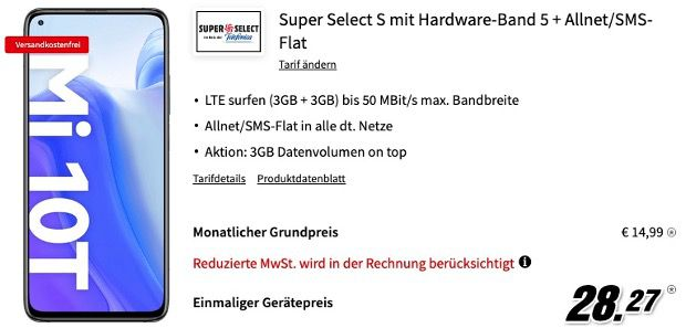 Xiaomi Mi 10T mit 128GB für 28,27€ mit Allnet Flatrate im O2 Netz inkl. 6GB LTE für 14,99€