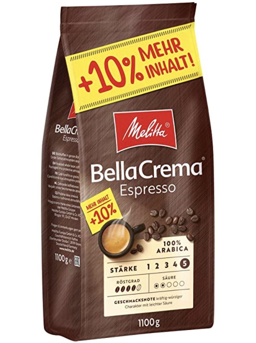 5x 1,1kg Melitta BellaCrema ganze Bohne ab 45,46€ (statt 55€)