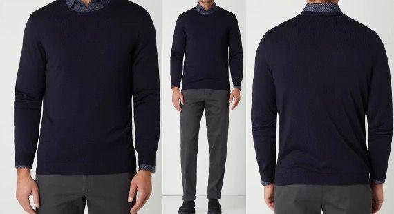 JOOP! Collection Pullover Dannie aus Merinowolle in Marineblau für 59,99€ (statt 80€)