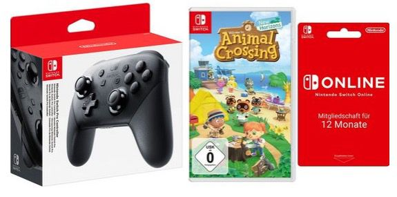 Nintendo Switch Pro Controller + Animal Crossing + 1 Jahr Nintendo Switch Online für 103,54€ (statt 128€)