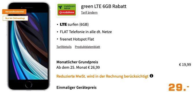Apple iPhone SE 2020 64GB Weiß für 29€ + Vodafone Allnet Flat inkl. 6GB LTE für 19,99€ mtl.