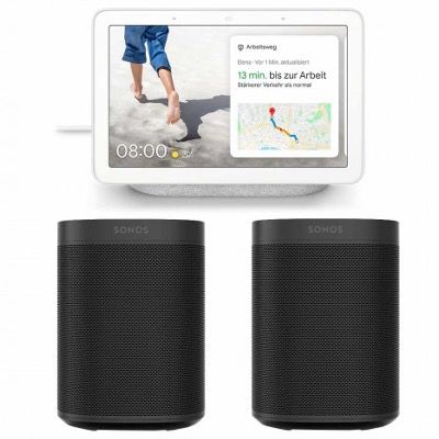 2x Sonos One 2. Gen. mit WLAN, Alexa und AirPlay2 + Google Nest Hub für 429,95€ (statt 482€)