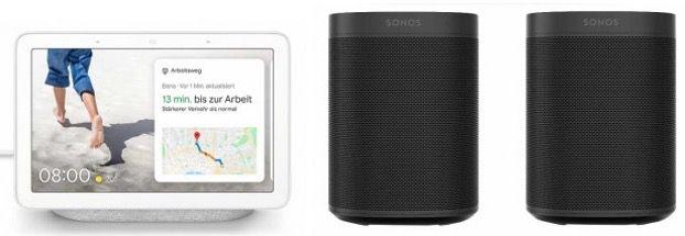 2x Sonos One mit WLAN, Alexa und AirPlay2 + Google Nest Hub für 429,95€ (statt 481€)