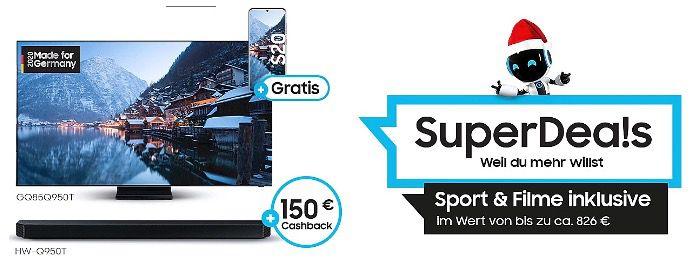 Samsung Fernseher kaufen + Galaxy S20 geschenkt   z.B. 65 QLED 8K Q800T (2020) für 2.999€ (statt 3.495€)