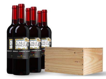 2x 6 Flaschen Calle Principal Tempranillo Cabernet Sauvignon in Holzkiste für 55,88€