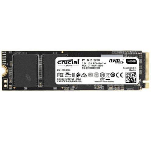 Crucial P1 1TB PCIe NVMe M.2 SSD für 74,90€ (statt 99€)