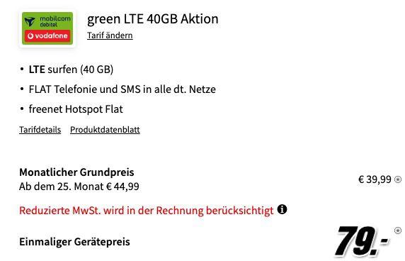 Apple iPhone 11 Pro 64GB für 79€ + Vodafone Allnet Flat mit 40GB LTE für 39,99€ mtl.