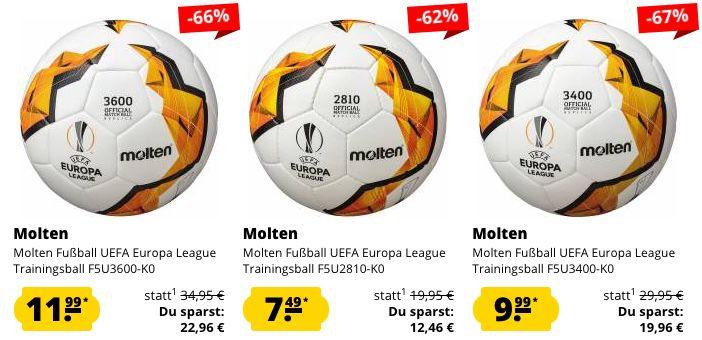 Molten Fußbälle im Sale   z.B. Europa League Trainingsball Größe 5 für 11,44€ (statt 33€)