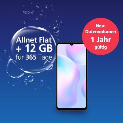12 Monate O2 Prepaid Allnet-Flat inkl. jährlich 12GB LTE mit Xiaomi Redmi 9A nur 119,99€ (Galaxy A20e 149,99€)