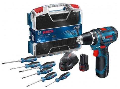 Bosch GSR 12V 15 Akku Bohrschrauber inkl. 6 teiliges Schraubendreher Set für 107,48€ (statt 140€)