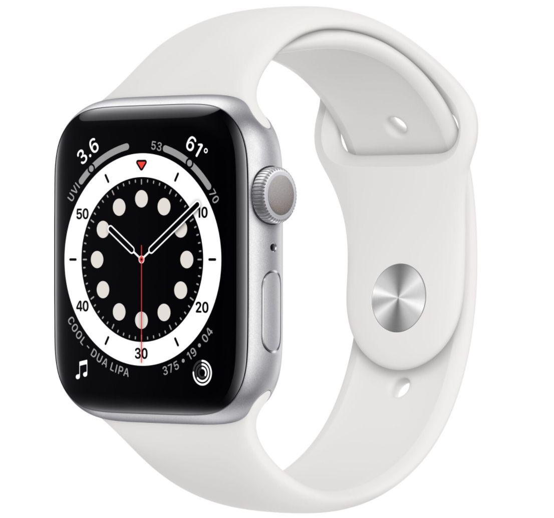 Apple Watch Series 6 (44mm & GPS) in Silber mit Sportarmband für 399,90€ (statt 428€)