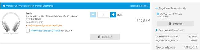 Conrad: 10% Rabatt auf vieles (teilweise auch Apple)   z.B. Apple AirPods Max für 537,52€ (statt 590€)