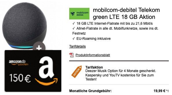 Amazon Echo Dot 4 für 1€ mit Telekom Allnet Flat inkl. 18GB LTE für 19,99€ + 150€ Amazon