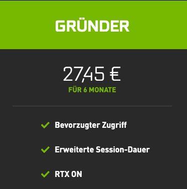 6 Monate NVIDIA GeForce Now (Gründer) inkl. RTX für 27,45€ (statt 33€)