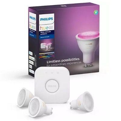 Philips Hue White & Color Ambiance GU10 Bluetooth Starter Kit (3 Lampen + Bridge) für 96,02€ (statt 136€)