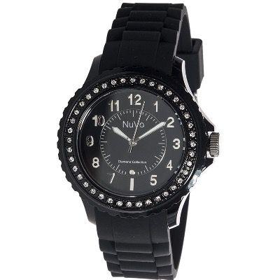 Nuvo Eternity Diamant Damenuhr mit schwarzem Silikonarmband für 35€ (statt 100€)